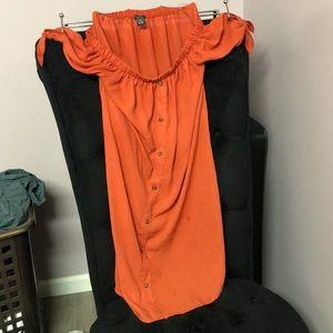 Orange button down off the shoulder- Medium
